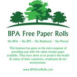 Printed lightly on back of roll ..Cardnet iCT220 BPA Free Credit Card Rolls .. www.BPAFreeRolls.com