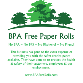 Customer message printed lightly on back of the rolls .... www.BPAFreeRolls.com