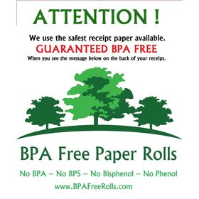 PAX D210 BPA Free Rolls window sticker .. www.BPAFreeRolls.com