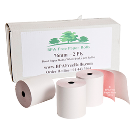"76x70 2 Ply (White/Pink) Grade ""A"" Paper (20 Roll Box)"